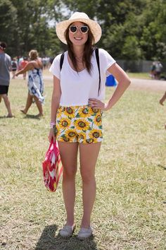 The Best Looks from the Firefly Music Festival...Cute sunflower shorts!