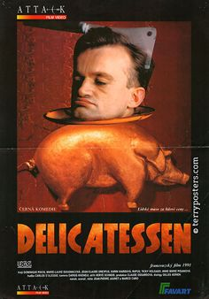 Delicatessen begins in a dilapidated apartment building in post-apocalyptic France. Food is in short supply and grain is used as currency. I...