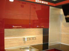 П-образная кухня Бордо красного цвета от салона Domus (СПб)