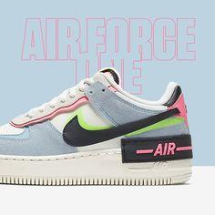 OUT NOW 💙💗 Deze prachtige Nike Air Force 1 Shadow 'Light Armory Blue' geeft een speelse draai aan een klassiek design. De sneaker heeft een gelaagd design, met twee keer zo veel merkdetails. Air Force 1, Nike Air Force, Sneakers, Blue, Shoes, Design, Tennis, Slippers, Zapatos