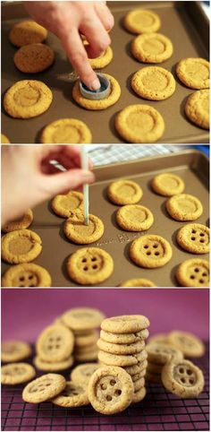 You don't need a special cutter for button cookies. Start by baking small circle cookies. While your cookies are still hot, press with a smaller whole circle such as a bottle top, then poke the holes with a straw. Just Desserts, Delicious Desserts, Yummy Food, Dessert Healthy, Delicious Dishes, Cake Cookies, Cupcakes, Sugar Cookies, Lemon Cookies
