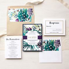 Wow your guests with Beacon Lane's destination wedding invitation style, Jewel Tone Tropics, completely customizable to fit the theme of your special day.