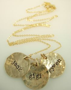"Hammered Hand Stamped Necklace Hand by jamesmichellejewelry, $75.00 I would love one that says ""Jude Lux"" #PPBmothersday"