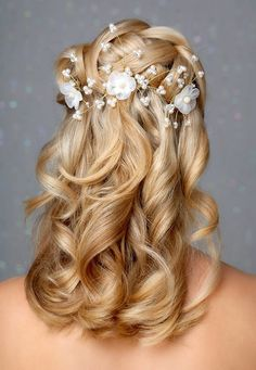 Half Up Half Down Wedding Hairstyles With Pearls