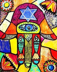 JUDAICA++Red+Mosaic+Hamsa'++SILBERZWEIG+by+SandraSilberzweigArt