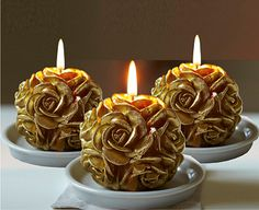 Image for Gold Flower Candles - Buy 2 and get 1 FREE from Bloom