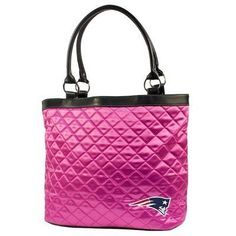"NFL New England Patriots Pink Quilted Tote by Little Earth. $21.69. Magnetic Snap Closure. Inner Two Pockets allow easy Access. Quilted Tote with Satin-Like Pink Quilting. 8"" Faux Leather Handle Drop Length. NFL New England Patriots Pink Quilted Tote"