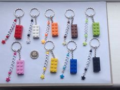Handmade Personalised Any Name Keyring Bag Tag made with Lego Brick. £3.19 free delivery.