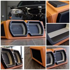 custom fiberglass sub enclosures, subwoofers modern orange camel tan beige black grey