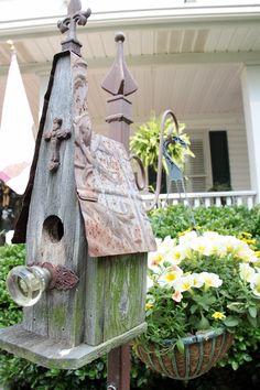 Honey, I need one of these.    bird house / plant hook