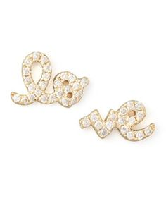 Y1JW3 Sydney Evan Yellow Gold Diamond Love Stud Earrings