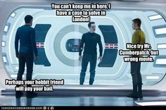 Star Trek, Sherlock, and The Hobbit crossover<<I wonder if the misspelled name was intentional.