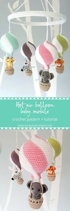 Baby Knitting Patterns Make your own amazing hot air balloon baby mobile with this simple crochet pattern. This crochet m. Amigurumi Giraffe, Crochet Amigurumi, Amigurumi Patterns, Crochet Toys, Crochet Animals, Crochet Gratis, Cute Crochet, Crochet For Kids, Easy Crochet