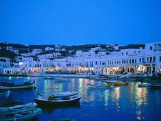 The Greek island of Mykonos.
