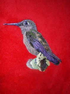 Red Plush Throw Blanket with a Hummingbird by MerriStitcher, $25.00