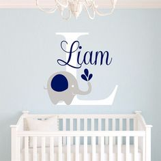 2016 NEW Custome Baby Name Decal - Elephant Wall Sticker - Baby Room Art Decor - Nursery Vinyl Wall Sticker Home Decor