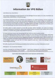 """Volksfest Bülten 2020 Information der VFG Bülten zum Volksfest 2020 Die VFG Bülten hat sich dazu entschieden aufgrund der gegenwärtigen Coronasituation das Volksfest 2020 abzusagen. Sollten es allerdings die Situation erlaufen wird die VFG Bülten alles daransetzen das Volksfest Bülten im Herbst diesen Jahres nachzuholen. [frontpage_news widget=""""114″ name=""""Lesetipp""""] The post Volksfest 2020 first appeared on Bülten. Post, Reading, Tips, Autumn"""