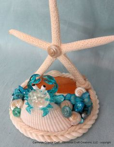 This would make a great christmas gift to folks that love the sea an shore...Beach decor blue crab business card holder by CarmelasCoastalCraft,