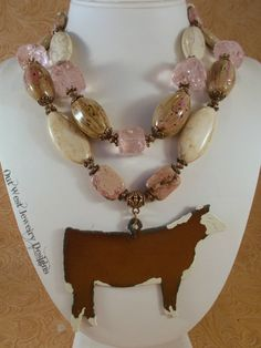 Cowgirl Necklace Set  Chunky Pink and White by Outwestjewelry
