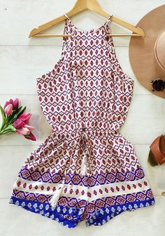 This comfy tribal print halter romper is sleeveless with sexy keyhole cutout at the back. | Lookbook Store Jumpsuits and Rompers