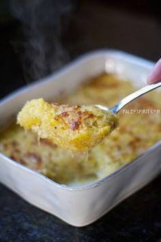 Spaghetti Squash Gratin using Gruyere cheese and Greek yogurt: #Primal, Grain-free, Gluten-free side dish from @paleospirit