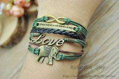 Bronze Infinity Love & Elephants charm braceletRetro by Richardwu, $6.25
