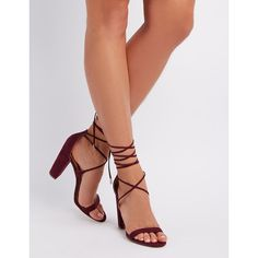 Charlotte Russe Faux Suede Lace-Up Sandals ($20) ❤ liked on Polyvore featuring shoes, sandals, burgundy, flat lace-up shoes, charlotte russe sandals, lace up flat sandals, sexy sandals and sexy flat sandals