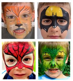 Choose Face Painting for a Kids Party in Kitchener, Waterloo, Cambridge, Guelph and surrounding areas. Call for information about face painting. Spider Man Face Paint, Lion Face Paint, Dinosaur Face Painting, Professional Face Paint, Animal Makeup, Diy Crafts Hacks, Face Painting Designs, Body Makeup, Animal Faces