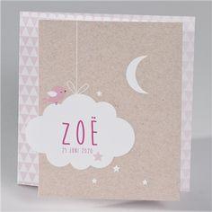 Geboortekaartje met een roze vogeltje in eco stijl - Suikerdraakje - Doopsuiker en Geboortekaartjes