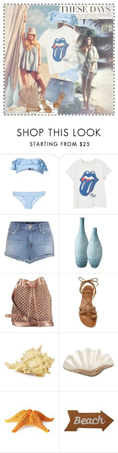 """#117"" by beautifulplace ❤ liked on Polyvore featuring H&M, Lisa Marie Fernandez, MANGO, J Brand, Lazy Susan, nooki design, Stuart Weitzman, Pearl Dragon, Philmore and Mud Pie"