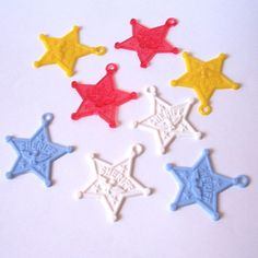 8 Colorful Sheriff Badge Charms by LulusCupcakeBoutique on Etsy