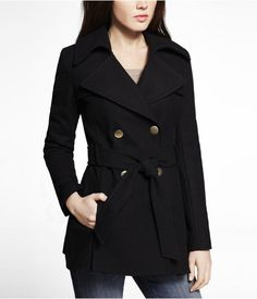 Express Womens Fit And Flare Trench Coat Pitch Black, Large