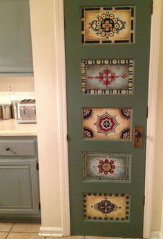 Antique Vintage Decor Wood door handpainted antique vintage wall by OneInAMillionFinds by Nicolette's One In A Million Finds - Vintage Doors, Antique Doors, Old Doors, Vintage Walls, Front Doors, Hand Painted Furniture, Repurposed Furniture, Bois Diy, Painted Doors