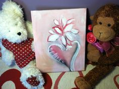 Pink Heart Flower on pink background Acrylic by elfWorksLane, $39.00