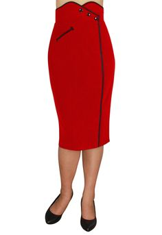 Red Rockabilly Wiggle Skirt by Amber Middaugh