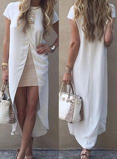 Trendy Short Sleeve Asymmetrical Solid Color Dress For Women