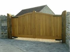 These wooden driveway gates are made with traditional mortice, tenon & wedge joints. These driveway gates are manufactured from ex timbers - ideally suited as a automated gate.