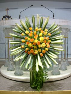 Church Flower Arrangements, Church Flowers, Flower Centerpieces, Flower Decorations, Floral Arrangements, Church Altar Decorations, White Runners, Casket Sprays, Flower Festival