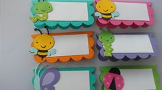 Want to add that special touch to your party? These sweet Garden Bugs will do just that! Use them as place cards or even to label food dishes or Big Doll House, Birthday Bulletin Boards, Diy And Crafts, Paper Crafts, Garden Bugs, Art Drawings For Kids, School Decorations, Frame Crafts, Classroom Decor