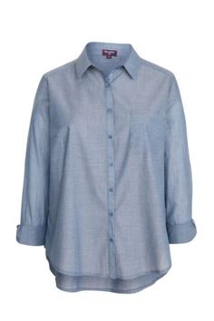 New Look Mobile | Inspire Blue Chambray Single Pocket Shirt