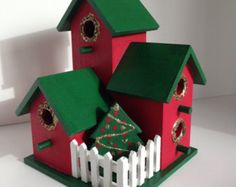 Shabby Chic Birdhouse Condos Decorated for the Holidays Complete with Christmas Tree Housewarming gift Gift under 25 dollars