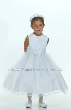 CREATE YOUR OWN - White or Ivory Dress with Choice of 139 Sash and 51 Flower Options $44.99