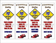 Pinewood Derby Awards pdf