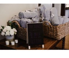 To have and to hold in case it gets cold. One per household Cold Wedding, Forest Wedding, Wedding Stuff, Dream Wedding, Wedding Day, Blanket Basket, Wedding Reception Decorations, Wedding Favors, Wedding
