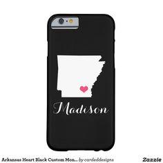Arkansas Heart Black Custom Monogram Barely There iPhone 6 Case