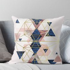 'Blush Pink and Navy Geometric Perfection' Throw Pillow by UrbanEpiphany Blue And Pink Living Room, Blush Living Room, Navy Blue Bedrooms, Navy Living Rooms, Pink Room, My Living Room, Blush And Gold Bedroom, Gold Bedroom Decor, Living Room Decor Pillows