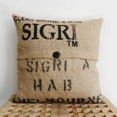 Burlap Coffee Sack Cushion! #Lilyshop