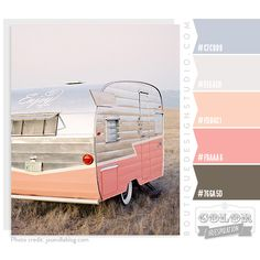 peach and pink color palette with silvery blue accents