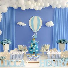 A festa de um ano do Lucca Henry ficou um encanto... #balao #temabalao #festabalao #decoracaobalao #festainfantil #festamenino #decoracaoinfantil #decoracaomenino #festa #decoracao #bolofake #menino #maedemenino #paidemenino #mundoazul #achadosdasemana #maefesteira #maeempreendedora #feltro #felt #fotografia #follow4follow #abcd #2gdecoracoes Fiesta Baby Shower, Boy Baby Shower Themes, Baby Shower Balloons, Baby Boy Shower, Balloon Birthday Themes, Baby Boy Cakes, Baby Boy Birthday, Baby Christening, Birthday Parties