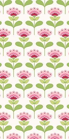 Retro half drop pattern in pink and green: